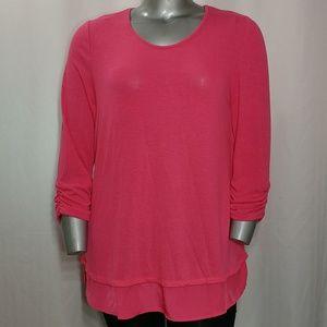 Grace Elements Pink Cross Back Scoop Sweater, XL